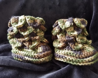 Green, Brown, and Black Camo Crocheted Dragon Scale Baby Booties