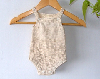 Knit Baby Sunsuit Organic Cotton - Handknitted cotton baby romper - Knit cotton onesie - Vegan baby romper