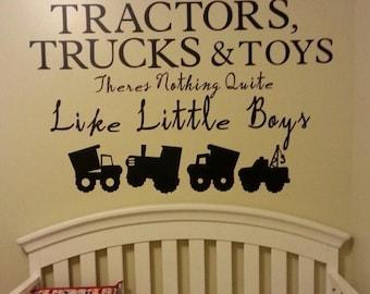 Baby boy nursery, wall decal vinyl decal tractor construction dump truck boys nursery playroom boys vinyl decal baby boy