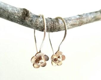 Flower Earring, two tone, brass / silver