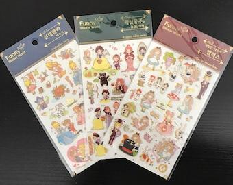 Disney alice, snow white, and cinderella  planner stickers - 1 sheet