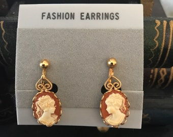 1970's Cameo Clip-on Earrings!  Never Worn