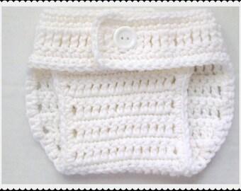 Ganchillo cubierta de pañal, panal blanco, prop de foto