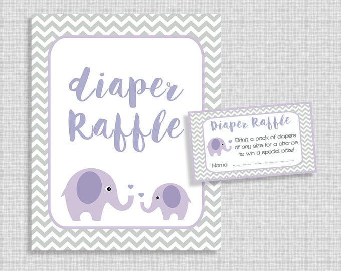 Elephant Diaper Raffle Tickets & Sign, Lilac Elephant Baby Shower, Neutral, Invitation Insert, Chevron, DIY Printable, INSTANT DOWNLOAD