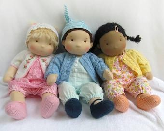"""DEPOSIT for a CUSTOM 14""""(36 cm) Waldorf Doll Baby. Steiner doll-cloth doll-handmade doll-rag soft doll-waldorfpuppe-organic doll-girl gift"""