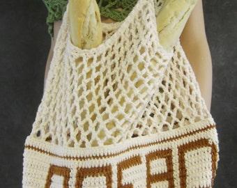BIG,Crochet Grocery Bag,Storage Bag,Bread Bag,Kitchen,Market Bag,Ecru,Cotton,Housewarming gift