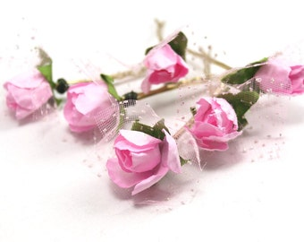 Bridal Hair Accessories, pink Rose, Pink flower Hair Bobby Pin, Brass Bobby pin- sets 6
