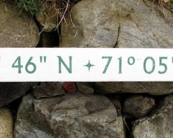 Longitude Latitude Reclaimed Wood Custom Sign