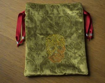 Velvet Sugar Skull Drawstring Dice Bag, Jewellry Bag, Smokers Bag, E-reader Bag, Knitting Bag, 21 by 25 cm (8,2 by 10 inch)