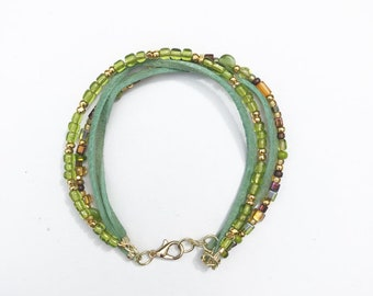 4 layered green suede and beaded bracelet