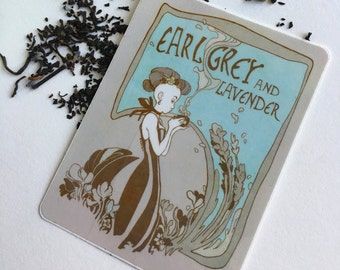 Earl Grey & Lavender Vinyl Sticker // Tea Label // Elegant Art Nouveau design