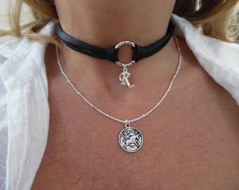 Black Deerskin Choker/Silver Chain Necklace with Charms