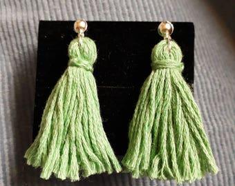 Green Tassel Stud Earrings