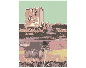 Threave Castle Abstract Photographic Print Peppermint