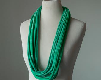Recycled T-Shirt Necklace Green Tie Dye