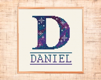 Letter cross stitch pattern Monogram D cross stitch Baby name cross stitch Space themed nursery cross stitch Boy Girl cross stitch Customize