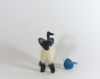 Miniature Needle Felted Siamese Cat Soft Sculpture, Kitty
