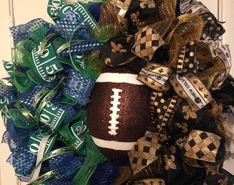 Seahawks Saints House Divided, New Orleans Saints Wreath,Seattle Seahawks Wreath, Football Wreath, Door Decor, Door Hanger