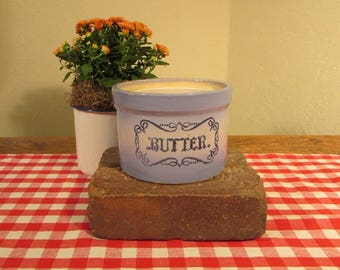 "Blue and White Stoneware Butter Crock, Vintage Crock, Stoneware Crock with ""Butter"" Stenciled on Front, Collectible Crock, Farmhouse Decor"