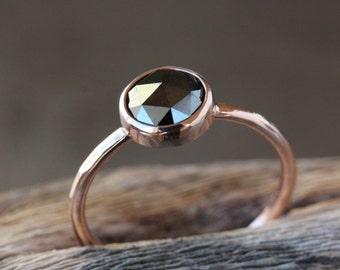 Rose Gold Black Diamond Ring, Rose Cut Diamond, 14k Rose Gold Band, Black Diamond Engagement Ring, Conflict Free, Pink Gold Ring
