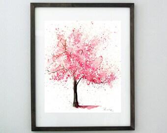 Cherry Blossom Tree Watercolor Art, Original Art, Original Painting, Cherry Blossom Painting, Pink Tree, Watercolor Flowers,