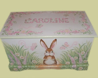 Bunny Toy Box in Pinks and Greens