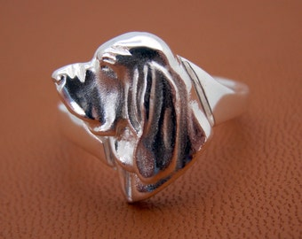 Sterling Silver Bloodhound Small Head Study Ring