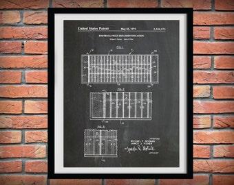 1971 Football Field Layout Patent - Art Print Poster - Sports Wall Art - NFL Wall Art - Sports Bar Decor - Football Game - Grid Iron