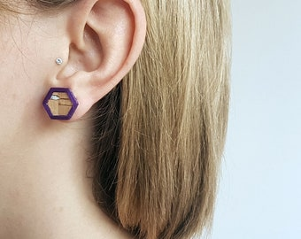 Light and geometric earrings, leather Cork, 3D printing, Stud minimalist earrings, gift for woman