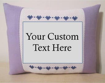 Custom Text Pillow Quote Saying Message Sign Personalized Cross Stitch Gift FREE SHIPPING