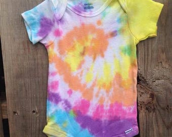 18 Months, Tie Dye Baby Onesie, TDBOspiral13
