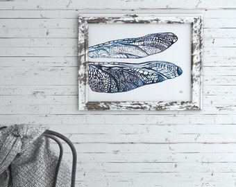 Blue Dragonfly Wings, Hand Drawn Wings, Intricate, Blue Tones, Wall Art, Two Sizes Available, Fine Art Print