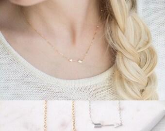 Gold Arrow Necklace - Tiny Sideways Arrow Necklace - 14K Gold Filled Arrow Tribal Necklace - Dainty Gold Necklace - Silver Arrow Necklace