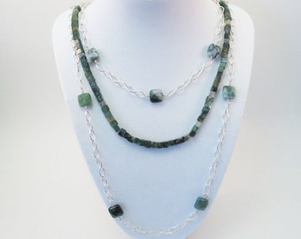 Moss Agate Triple Strand Necklace
