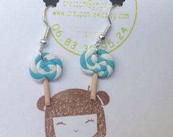 Blue and white polymer clay lollipop earrings