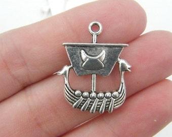 BULK 20 Viking boat ship pendants antique silver tone SW31