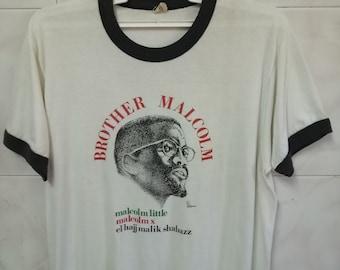 Original Vintage 80s Malcom X Black and White Rap Tee Civil Rights Big Logo T Shirt - Medium/Small F8tY5AjBn