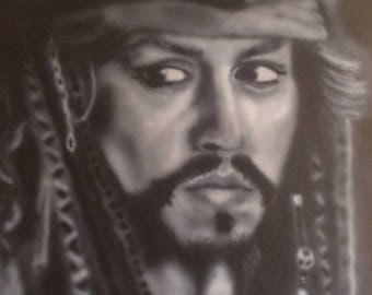 Air Brushed Pirates of the Caribbean Johnny Depp's Jack Sparrow Giclee Canvas Print