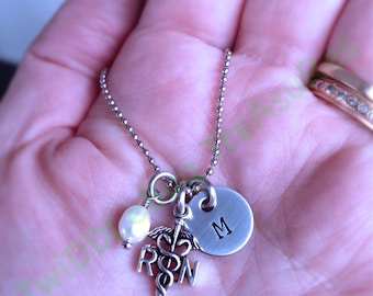 Nurse Necklace - RN - Stainless Steel -Hand Stamped Necklace - Nurse Gift - Nursing