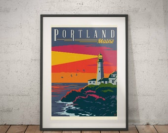 portland, portland travel poster, wall decor, vintage