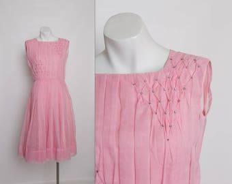 vintage 1950s pink chiffon dress with rhinestones