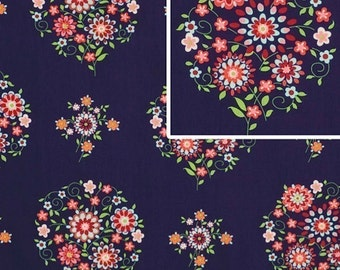 Amy Butler Fabric  /  Memento in Midnight  / 1 yd Quilt Apparel Fabric