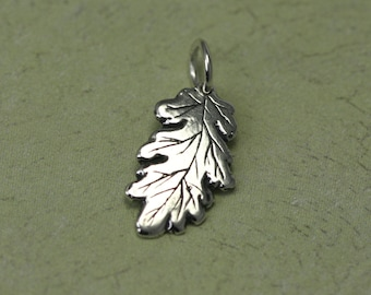 Tiny Sterling Silver Leaf Charm – Oak Leaf Charm – Small Sterling Silver Charm – Oak Leaf Jewelry – Nature Jewelry Tiny Sterling Leaf Charm