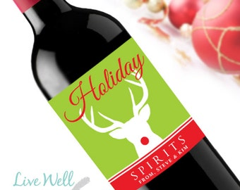 Holiday Spirits Rudolph Custom Holiday Christmas Wine Labels - Unique Christmas Gift - WEATHERPROOF and REMOVABLE