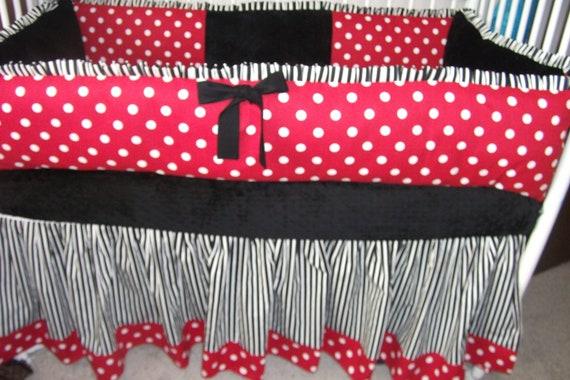 Lady Bug Red Black White Polka Dot Bumper Pad Baby Crib Set