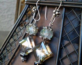 Lovely Faceted Glass Bead Earrings