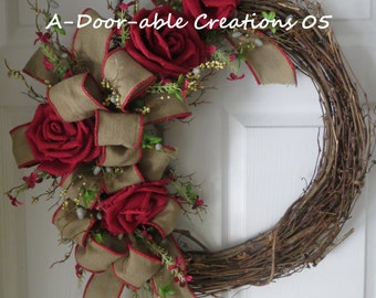 Grapevine Wreath..Burlap Flowers & Bow