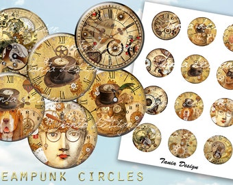 12 Steampunk CIRCLES 2 inch instant download printable images digital collage sheet