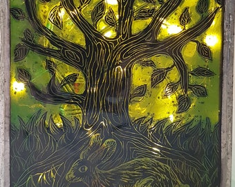 Tree Lantern, hand-painted stained glass, copper foiled glass, candle holder, hare, art glass, tree of life, green, hand painted, solstice