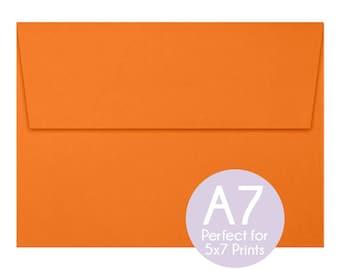 Mandarin Orange - A7 5x7 Envelopes - 5x7 Invitation Envelopes, Perfect for 5x7 Photo Cards and Invitations, A7 Wedding Envelopes - Set of 10